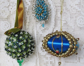 Vintage 1960's Blue Green Handmade Christmas Ornaments, Lot Of 3 Beaded And Sequined