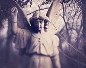 Angel Statue Photograph, Still Life, Old Cemetery, Black and White, Graveyard Photo, Gothic, Dark, Winter, Dreamy, Surreal Fine Art Print