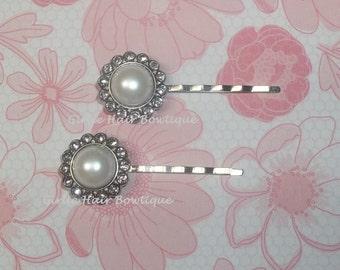 Bridal Hair Pins, Pearl Hair Pins, Wedding Hair Clip, Bridal Bobby Pins, Rhinestone Bobby Pin, Wedding Hair Pins, Bridesmaid Hair Pins Clear