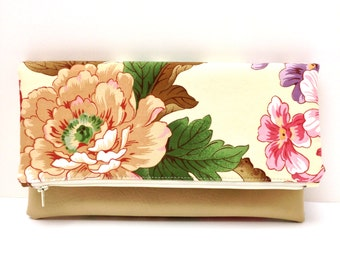 Clutch Purse Vegan Leather Gift Idea Natural Brown Pink Flowers on Ivory