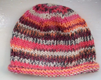 SALE Child's hat, knit, chunky wool, fair isle effect, salmon pink, orange, child or small size