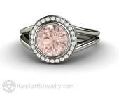Morganite Engagement Ring Morganite Ring Split Shank Bezel Woven Diamond Halo Pink Peach Gemstone Ring