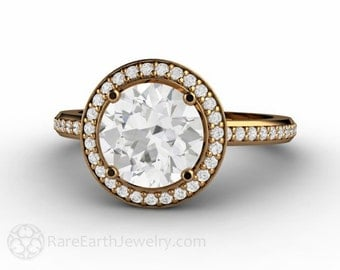White Sapphire Engagement Ring 2ct Sapphire Ring Diamond Halo 18K Gold Wedding Ring