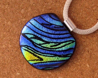 Etched Dichroic Pendant - Hand Etched Jewelry - Dichroic Jewelry - Fused Glass Pendant - Fused Glass Jewelry