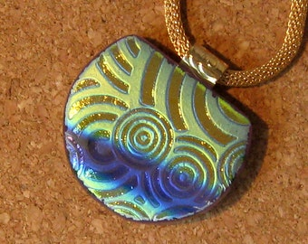 Glass Pendant - Fused Glass Pendant - Dichroic Jewelry - Fused Glass Jewelry -  Pendant