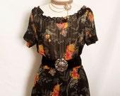 60% OFF Vintage floral Black chiffon ladies dress