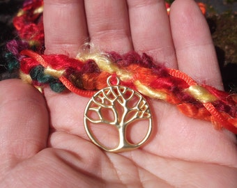 Wedding Handfasting Cords - The Colors of Autumn Tree of Life