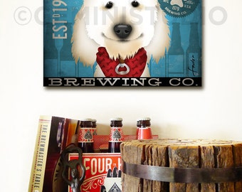 Goldendoodle doodle labradoodle dog Brewing beer Company graphic illustration on gallery wrapped canvas by stephen fowler