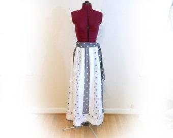 Vintage 70s Maxi Skirt, Blue and White, Polka Dot Patchwork, Alice of California brand, Elastic Waist, Tie Belt, Fully Lined, Elegant Skirt