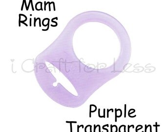 10 Mam Silicone Rings - Purple Dummy / Pacifier Clips Adapters for Nuk, MAM Button Style Pacifiers - SEE COUPON