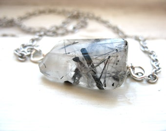 Tourmalinated Quartz , Tourmalinated Quartz  Necklace, Tourmalinated Quartz Jewelry, Gemstone Necklace, Pendant Necklace, Gemstone Jewelry