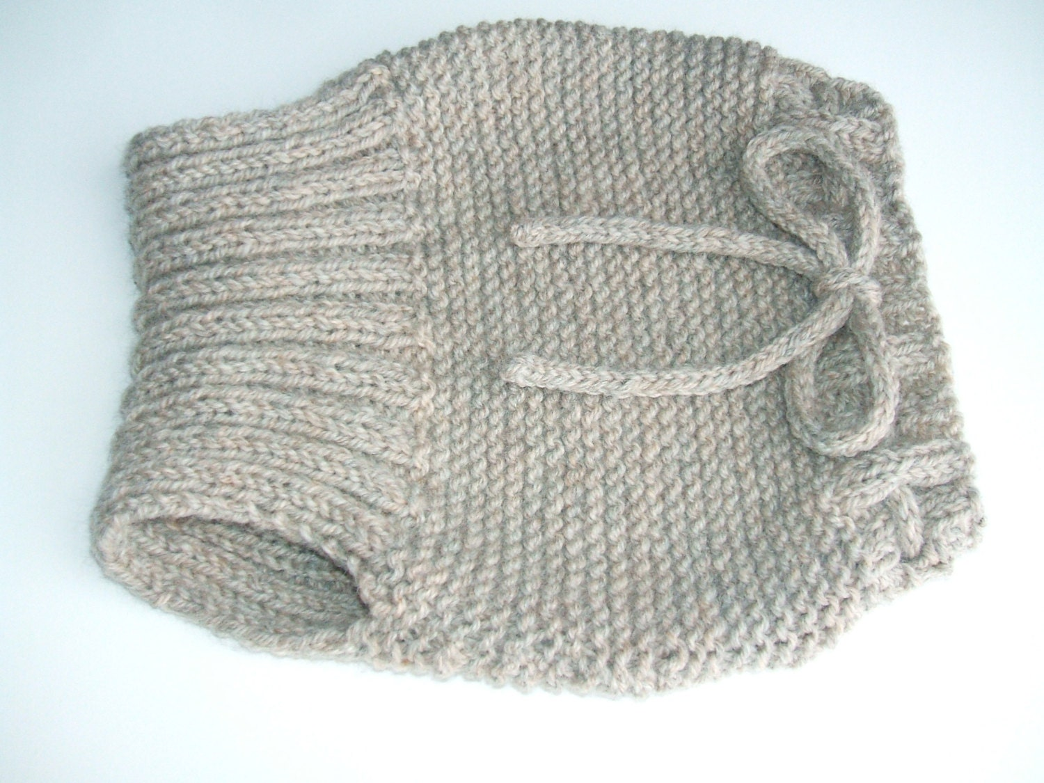 Large Hand Knit Wool Soaker Diaper Cover Tan by softandscrubby
