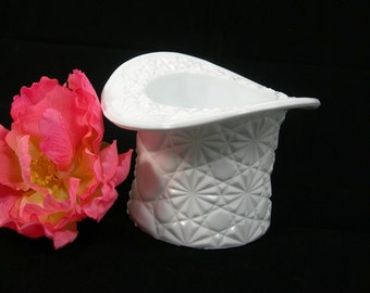 "Fenton Milkglass Top Hat Vase, Daisy and Button, Vintage c1950s, Pattern #1993, 3-3/8"" Tall by 4-5/8"" Wide"