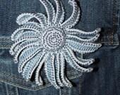 Beaded Crochet Gerbera Daisy, Crochet Brooch, Crochet Flower, Perfect Gift for Her, Gift for Teacher, Beaded Jewelry, Chambray Blue, Silver