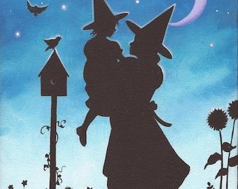 Twilight Garden Dance - 8 x 10 Print of Original Acrylic Witch Painting by Carolee Clark