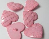 Darker Pink Hearts on Heart Novelty Buttons