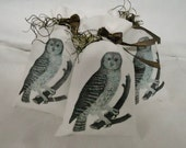 Owl Lavender Sachets  - Egyptian Cotton with  - Set  of  3 Owls on a Log Reserved for LSP