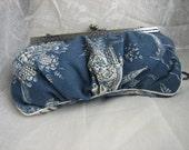 Clutch Bag- Blue & Cream Chinoiserie Cotton Print - Handmade- Lotus and Pagoda