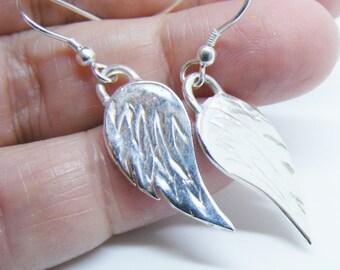 Handmade Silver Angel wing earrings, reversible wings, Sterling Silver wing