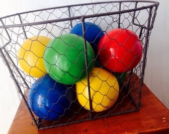 Game On...Vintage Wooden Bocce Balls Game Outdoor Game Bocce Ball Made in Italy Italian Bowling Art Deco Balls Complete Set With Jack