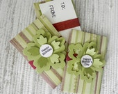 Muted Green Stripes Gift Card Holder - Happy Birthday or Happy Mother's Day
