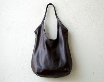 SLING  in soft dark brown - select size - leather tote - soft leather tote - light leather tote - free us shipping