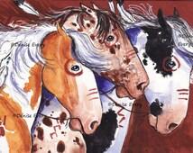 Horse Art Indian War Ponies Horse Art Print Indian War Pinto Appaloosa Horses Western Art Equine Art horse lover horse gift horse decor