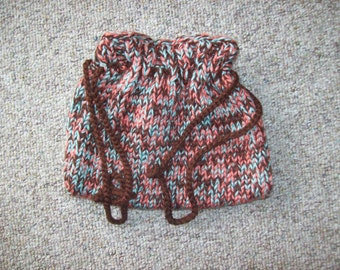 Drawstring, Pouch,Bag,Knit,Brown,Turquoise,Peach,Gift,Teens,Women,Girls