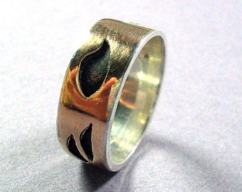 Black and Gold Ring, Gold Silver Band, Hollowform Band Ring, Wedding Band Ring, Handcrafted Artisan Jewelry Ring, Gold Sterling Ring