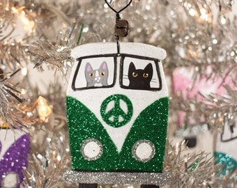 Green Christmas Bus Clay Cat Folk Art Ornament