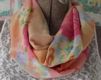 Handmade Infinity Scarf Soft Sheer Fabric Floral Print Pink Coral Orange Sky Blue Modern Spring Accessory Nursing Cover