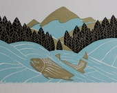 Linoleum Cut Print River Salmon, Salmon Art Print, Fish Illustration, Block Print, River, Art for Fisherman, Gift for Him, Nature Inspired