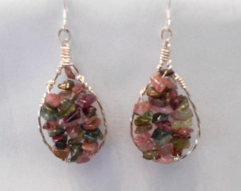 Multi-Color Tourmaline Sterling and Silver Filled Dangle Earrings