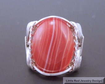 Handcrafted Sterling Silver Wire Red Sardonyx Ring