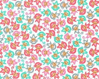 Kids fabric, Monkey fabric, Girls fabric, Urban Zoologie fabric by Ann Kelle, Mini Monkey in White, Choose your cut. Free shipping available