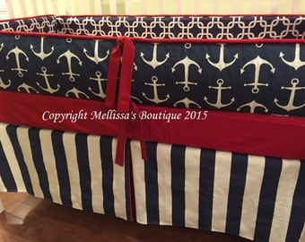 Custom Navy Blue Red & White Nautical Baby Nursery 3-Piece Crib Bedding Set made with Designer Fabrics