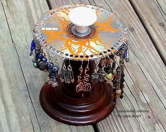 jewelry organizer earring holder repurposed vintage curio look handmade one of a kind jewelry display