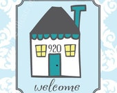 Personalized House Number Print, Art Print, Welcome Sign, Gift, Christmas Gift
