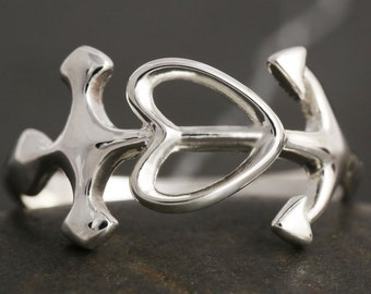 Sterling silver cross anchor heart ring