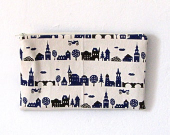 White Navy Canvas Village Print Zipper Bag / Pouch / Clutch / Cosmetic Bag