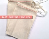 "10 (ten) 4"" x 6"" Muslin Drawstring Bags, natural cotton drawstring bags, wedding, potpourri sachet, stamping, packaging, crafts, party favor"