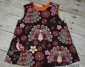 ON SALE Brown Peacock A-line Dress 3-6m