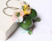Big Handmade Earrings with Wooden Bead in Green and Yellow colors -  Wood and Poppy