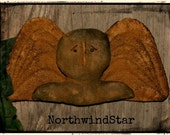 Primitive Tombstone Angel Ornie Folk Art Doll