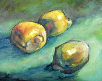 Three Lemons. Oil Painting, Vermont country art, ARCHIVAL PRINT of original painting 8 by 10 and other sizes