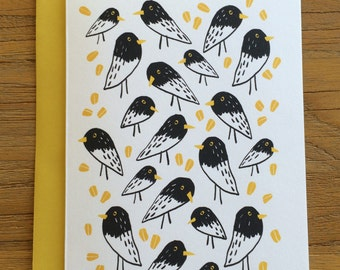 Flock of Sparrows with Corn A6 Greeting Card