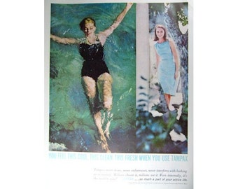 Mad Men Era Tampax Swimming Vintage Advertising Wall Art Home Decor E103