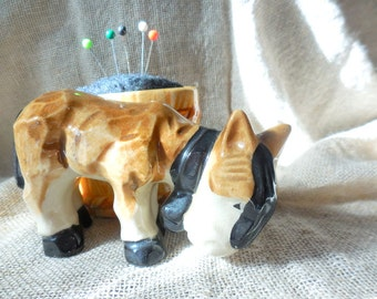 Vintage Donkey next to Barrel Planter remade into Pin Cushion