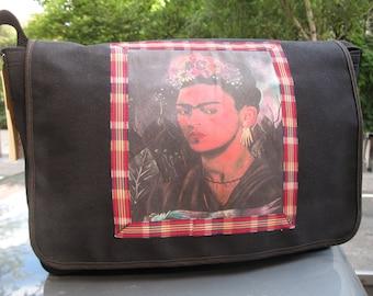Frida Kahlo Black Canvas Courier Bag, frida kahlo messenger bag, book bag