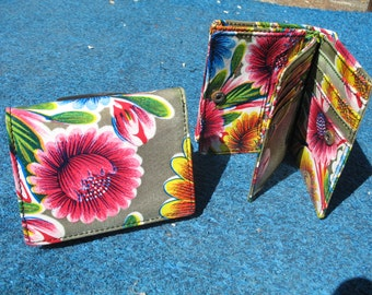 Oil Cloth Gold Trifold Wallet, Womens Floral Wallet